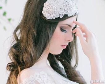 Bridal Hair Accessory, lace headpiece, tiara - Aurelia