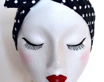 Rockabilly Pin Up Black & White Polkadot Print Dolly Bow Wire Headband