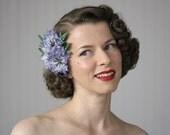 "Blue Hair Flower, Cornflower Fascinator, Wildflower Clip Hair Accessory, Floral Headpiece, 1950s Hair Retro Clip Vintage - ""My Bonny Baby"""