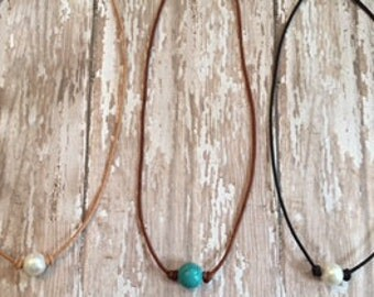 Single Pearl or Single Turquoise and Leather Necklace; Beautiful Freshwater Pearls on a Genuine Leather Cording