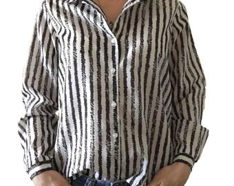 Black and White Striped Button Up/ Stripes/ Black and White Stripes/ Vintage Button Up/ Professional Attire/ Work Attire/ Wear to Work