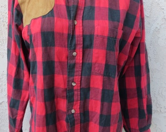 Vintage 1960s Abercrombie & Fitch red/blck buffalo plaid l/s cotton hunting shirt leather patch sz S mens unisex