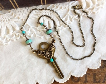 Repurposed vintage key necklace assemblage neckace turquoise necklace