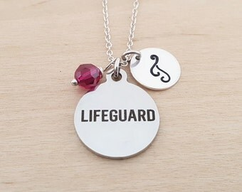 Lifeguard Necklace - Lifeguard Charm - Personalized Initial Necklace - Sterling Silver Necklace - Swarovski Birthstone Jewelry