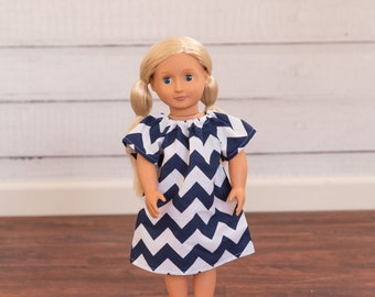 "Ready to Ship 18"" Doll Dress, American Girl Doll Dress, AG Doll Dress, Navy Chevron Doll Dress"