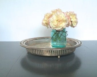 vintage round silver reticulated gallery tray 12in tray rustic cottage chic