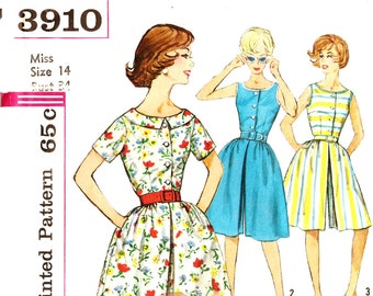 Simplicity 3910 Vintage 1960s Culotte Dress With or Without Sleeves and Collar Sewing Pattern Sz 14
