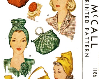 McCall 1186 Misses' Vintage 1940s Turban Hats and Bags Sewing Pattern