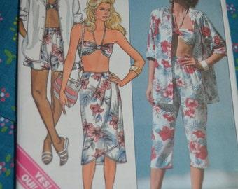 Butterick 3912  MIsses Shirt Skirt Pants Shorts and Bra  Sewing Pattern - UNCUT Size 6 8 10