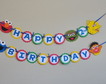 Elmo and Cookie Monster banner, Sesame Street Banner, Sesame Street Birthday Party