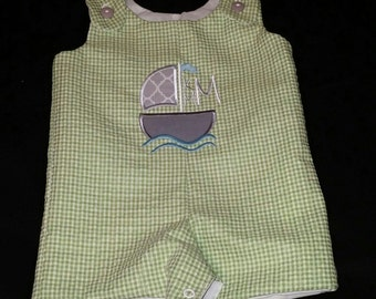 Boys Personalized Sailboat Shortalls or Longalls - Buy 3 or more get 10% off...