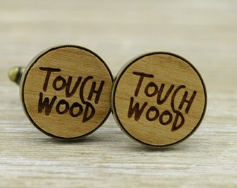 Touch Wood Bronze Wood Cufflinks - Superstitious - Unique wedding gift - Groom Cuff Links - Rustic Wedding - Lucky - Groom Gift Idea