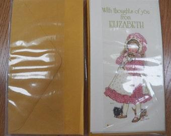 """Vintage 1974 Holly Hobbie NAME NOTES~Cards American Greetings New """"ELIZABETH"""""""