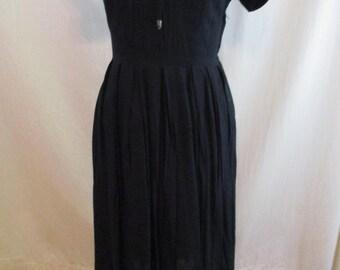 "Vintage 40s Black Cotton Dress by Joan Dell Fashions 32"" Waist XL"