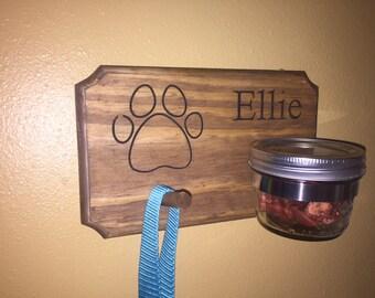 Personalized rustic dog treat jar leash holder paw style half pint mason jar hook pawprint engraved