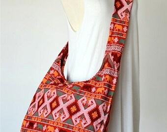 Traditional Thai Patterns / RED / Ethnic Hippie Purse and Fashion Crossbody Bag / Boho Hobo Messenger Bag DER215