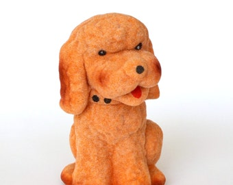 Vintage Soviet children's toy Poodle. NOS flocked polymer toy with original tag.