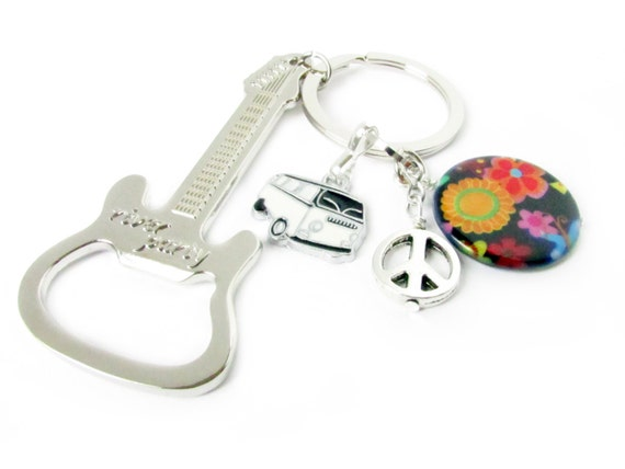 guitar bottle opener keychain peace sign keychain car. Black Bedroom Furniture Sets. Home Design Ideas