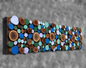 12x48 Painted and Oak Tree Branch Rounds Wall Art Wooden Wall Sculpture Painted Wood Art Primitive Rustic Southwestern Decor AVAILABLE