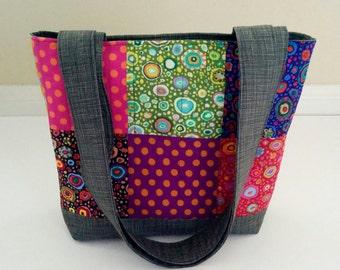 Quilted Tote Bag, Kaffe Fassett Tote Bag, Patchwork Tote, Floral Tote Bag, Shoulder Bag