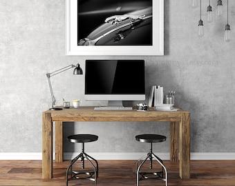 Jaguar blue black classic car photography/black and white photography/car decor/home decor/men gift idea/large art/16x20 16x24/office decor