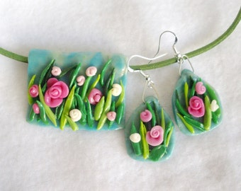 Vibrant blooming meadow, spring flowers, set of earrings and pendant, air dry clay, cold porcelain, spring jewelry set