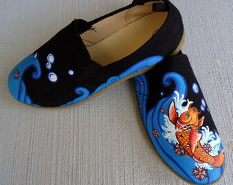 Hand Painted Koi Fish Toms. Japanese Theme Toms. Painted Fish Toms