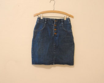 High-Waisted Dark Blue Denim Skirt - 1980s