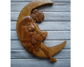 Paper Moon Oak wood sculpture - Wood wall art - Nursery art - Hand carved wood sculpture -  Paper Moon - Wood home decor - Kids room decor