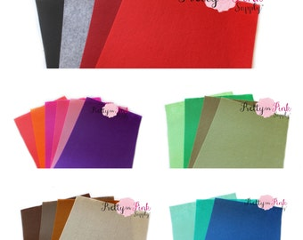 "8"" x 11"" Felt Sheets- Felt Fabric Sheet - Crafting Felt - Woven Polyester Felt- You Choose Colors and Quantity"