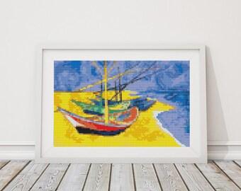 Mini Cross Stitch PATTERN Boats on a Beach by Vincent van Gogh, Cross Stitch Chart PDF
