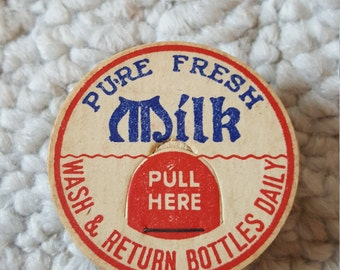 10 Vintage Milk Bottle Tops/Caps Pure Milk Drink Cardboard Mixed Media Pristine Lot of 10