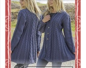 Hand knitted fit n flared aran style jacket cardigan with cables for women ladies S - XXXL - made to order