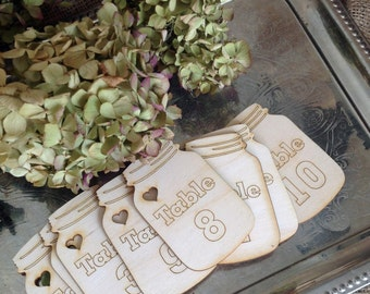 Wood Mason Jar Table numbers set of Ten  1-10 laser cut and engraved