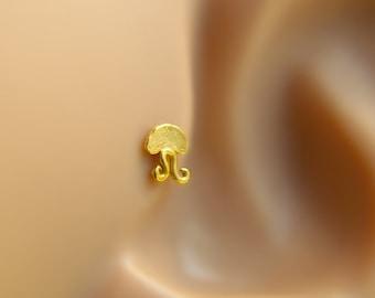Tragus earrings, Jellyfish tragus earring, tragus 16G, tragus BioFlex, tragus piercing, labret piercing,tragus earring flat back,trgus gold