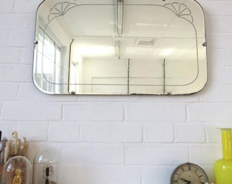 Vintage Art Deco Bevelled Edge Wall Mirror Extra Large Lovely Shape