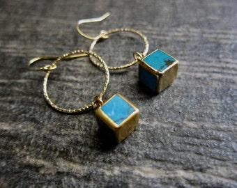 Turquoise Earrings,Gold Hoop Earrings,Turquoise Hoop Earrings,Turquoise Dangle Earrings,Turquoise Earrings Gold,Raw Stone Gold,Cube Earrings
