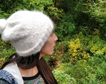 Icelandic Handspun White Winter Knitted Hat