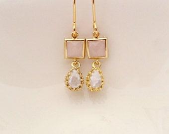 Pink Glass Earring/ Rose Quartz Earrings/ Zirconia Teardrop Earring/ Blush Earrings/ Gold And Pink Earrings - Slow