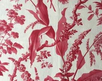 French Antique Red Bold Floral & Foliage Toile 1900s