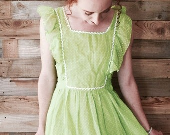 Retro 1970s Lime Green Polka Dot Dress