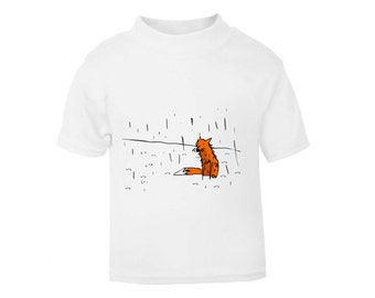 Fox kids t shirt, unisex children tee, hipster animal clothes, hand painted fox in the rain
