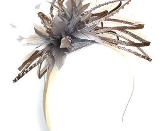 Fascinator with loops and sequins, Taupe Headpiece with feathers,