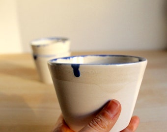 White cups Blue rim cups Stoneware white and blue cups Small ceramic bowls