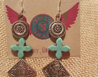 Silver and Turquoise Cross Earrings, gift, western jewelry, Cowgirl jewelry, boho