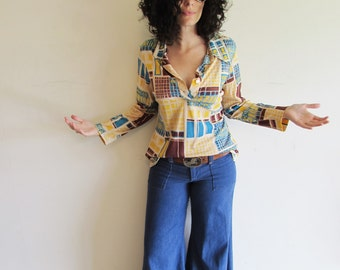 Vintage Soft and Thin Abstract Square Novelty Disco Polyester Shirt