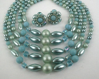 1950s Classic Five Strand Beaded Necklace and Earring Set Demi Parure
