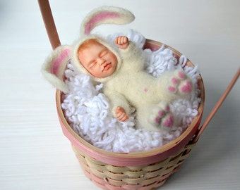 "OOAK art doll ""Baby bunny"". Needle felted teddy doll. Sleeping baby. Little baby in rabbit suit."