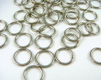12mm Antiqued Silver Jump Rings - 16 gauge [thick] Antiqued Silver, Platinum Color Jump Rings - Select Qty. from Options (12mm/16g-AS)