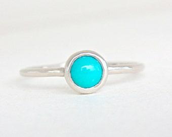 Turquoise White 14k Gold Ring Turquoise Engagement Ring Arizona Turquoise Gold Ring Made in Your Size White Rose Yellow Gold Turquoise Ring